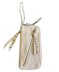 Free People Wristlet Women Ivory Distressed Leather Credit Card Wallet $58 $31.60