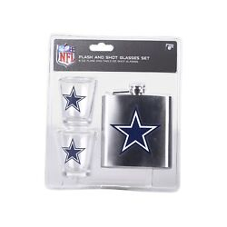 Nfl Dallas Cowboys 6oz Flask And 2oz Glass Shot Set Stainless Steel Flask
