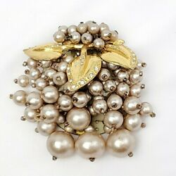 Vtg 1940andrsquos Miriam Haskell Glass Pearl Bead Gold Leaves Dress Clip Brooch Ww2 Era