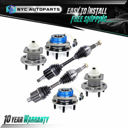 2x Front Cv Axle Shaft + 4x Wheel Hub And Bearing For Chevy Impala Monte Carlo
