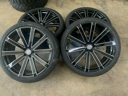 4- 22 Velocity Vw12 Black Milled Wheels And Tires Charger Challenger 300 Rims