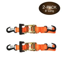 2 Heavy Duty Motorcycle Ratchet Tie Down Straps 8andrsquo X 1-1/2andrdquo With Safety Snap...