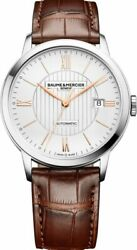 New Baume And Mercier Classima Automatic Silver Dial Leather Mens Watch Moa10263