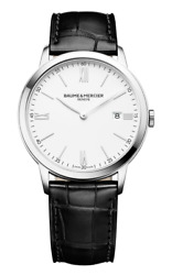 New Baume And Mercier Classima St. Steel Menand039s Quartz Leather Band Watch Moa10323
