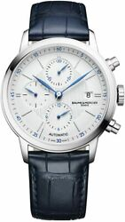 New Baume And Mercier Chronograph Menand039s Moa10330 Classima Blue Leather Strap Watch