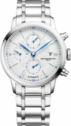 New Baume And Mercier Chronograph Menand039s Stainless Steel Moa10331 Classima Watch