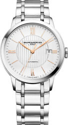New Baume And Mercier Classima Automatic Silver Dial St. Steel Mens Watch Moa10374