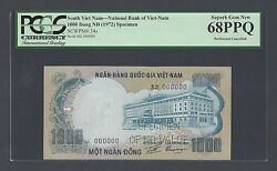 South Vietnam 1000 Dong Nd 1972 P34s Specimen Perforated Uncirculated