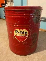 Pride All Purpose Shortening Vintage Tin Large 120lbs. Tin With Lid