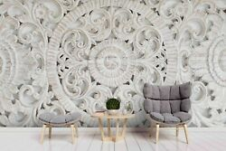 3d White Floral Relief Self-adhesive Removeable Wallpaper Wall Mural Sticker 65
