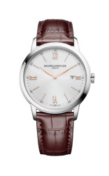New Baume And Mercier Classima St. Steel Menand039s Quartz Leather Band Watch Moa10415