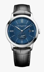 New Baume And Mercier Blue Dial Menand039s Automatic Leather Band Watch Moa10480 Classi