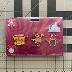 Disney Minnie Mouse Main Attraction Pin Set Mad Tea Party Alice In Wonderland