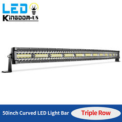 50inch Curved 1080w Tri-row Led Light Bar Combo Driving Slim Lamp Offroad Truck