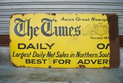 1940and039s Vintage Old Iron The Times News Paper Adv. Porcelain Enamel Sign Board