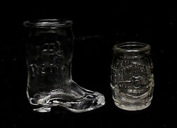 Jim Beam 200th Anniversary Barrel And Boot Shaped Shot Glasses Free Priority Mail