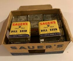 12 Sauerandrsquos Dill Seed Tins Display Carton Vintage 1940and039s Nos Spice Unopened Full