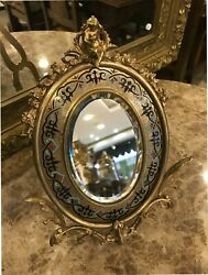 Antique 19 Th.c Bronze French Enamel Frame Mirror With Fine Hand Carved Girl