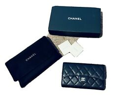 Limited CHANEL Black Long Wallet Caviar AUTHENTIC NEW Gold Logo In Box With Bag $1,200.00