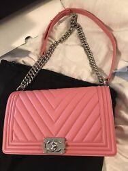 Chanel New Medium Boy Bag Pink With Silver Hardware $4575.00