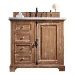 Providence 36 Single Vanity Cabinet Driftwood With 3 Cm Carrara White Top W/...