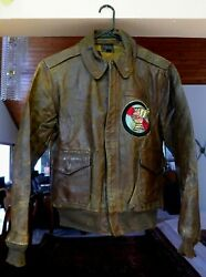 Wwii Original Us Army Air Corps Named A-2 Flight Leather Jacket, Used