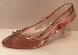 Vintage Pink Heavy Glass Slipper With Goldtone Bow 9.5