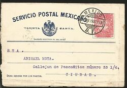 J 1900 Mexico, Mailman And Dog, 2 Cents Red, Eagle, Circulated Cover