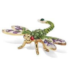 Jere Luxury Giftware, Bejeweled Dewey Green Dragonfly Trinket Box With Matching