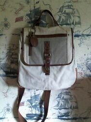 FOSSIL Brown Canvas and Leather Messenger Backpack Bag $35.00