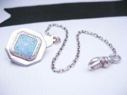 Antique Art Deco Era Sterling Silver And Guilloche Enamel Fob Pocket Watch Chain