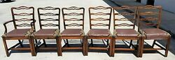 Vintage English Chippendale Style Mahogany Ribbon Back Dining Chairs - Set Of 6