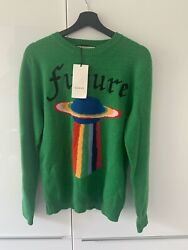 Green Wool Sweater With Planet Intarsia Ufo Pullover L