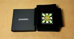 Authentic Vintage Green Yellow Flower Gripoix Glass Pendant Brooch