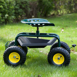 Outdoor Rolling Garden Cart W/ 360 Degree Swivel Seat And Tray Green For Planting