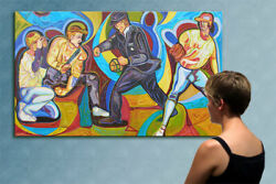 78 -mlb - Baseball Game ---- Original Cubist Painting Oil On Canvas By Anna