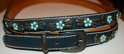 Les Copains Silver Line Western-wear Wrap-around Leather And Turquoise Belt