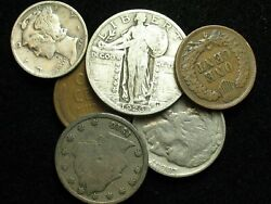 Starter Collection Lot6 Slq, Ihc, Merc Dime, 1909 Wheat, Buffalo And V Nickels