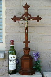 Antique Large French Oak Wood Carved Crucifix Cross Neo Gothic Religious