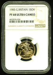 Gr. Britain 1985 Gold Coin Qe Ii Sovereign Ngc Certified Proof 68 Ultra Cameo