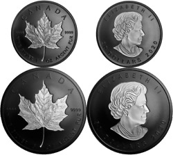 2020 4oz Pure Silver Maple Leaf Incuse Sml Rhodium-plated Proof 50and20 2-coins
