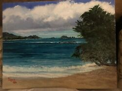 """Jeanne Lopes """"Kailua Beach and Flat Island"""" Oil Painting Signed 🌺 $3500.00"""