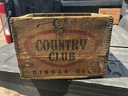 """Rare Vintage Country Club Ginger Ale Soda Advertising Wooden Box Crate 18/12/13"""""""