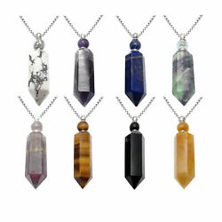 Natural Stone Essential Oil Necklace Perfume Bottle Faceted Point And Silver Chain