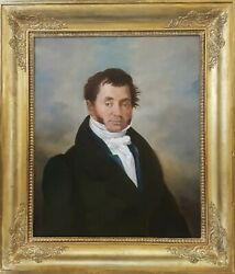 19th Century Portrait Painting Oil On Canvas Portrait Of A Man French School
