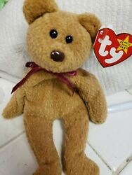 Vintage Ty Beanie Babies Curly Brown Bear Brown Nose Bold Print So Many Errors