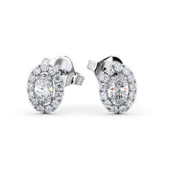 Igi Certified Halo Oval And Round Diamond Halo Earring 0.60 Carat Solitaire