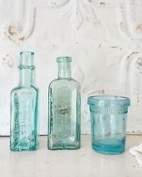3 X Antique Vintage Glass Bottles Vase Flower Apothecary Lung Tonic Daddies Old