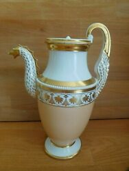 Antique Rare Russian Poppov Porcelain Griffin Shaped Coffee Pot And Cover