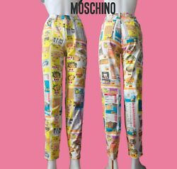 🛒 Moschino Vintage Advertisement Print Jeans | 1990s | Size 26andrdquo